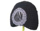 Black and Gray Flapper Style Cloche Hat - Design Your Own Hat with Capiz Shell - Winter Hats for Women and Baby Girls
