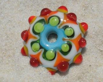Lampwork Disk Orange-Turquoise-Green, Handmade SRA LETEAM Glassymom