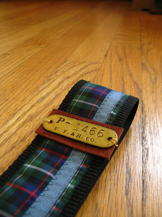 Navy Plaid Guitar Strap with Vintage Brass Plate