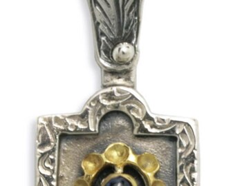 Byzantine-Medieval Pendant - Sterling Silver, Gold Plated Silver & Zircon