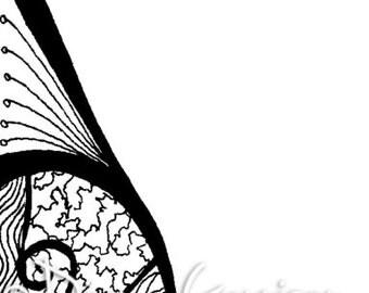 Whimsical Dragonfly Border Digi Digital Stamp