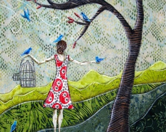 Gathering Songbirds, birdcage, gifts for her, brown hair, spring, blue birds, 8.5 x 11 Archival Reproduction Print
