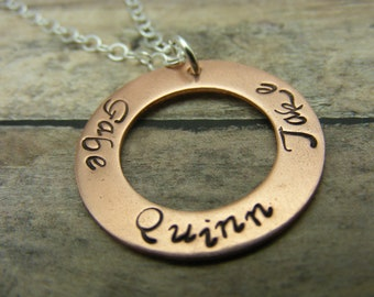 Personalized-Hand Stamped jewelry- copper- washer necklace