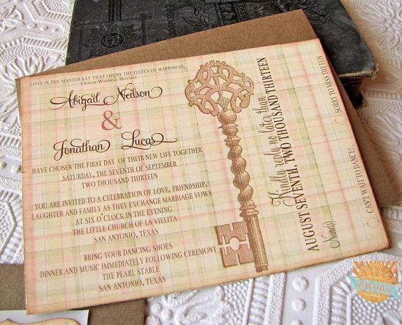 Vintage Wedding Invitation Skeleton Key by SunshineandRavioli