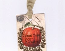 Fall and Autumn Gift Tags - Vintage Orange  Pumpkin - Thanksgiving Place Cards - Count Your Blessings