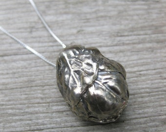 BRUSSEL SPROUT solid cast white bronze on sterling necklace Made to Order