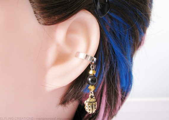 Ladybug Earring Scarab Cartilage Ear Cuff Black And Gold Egyptian Jewelry