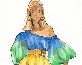 Samantha Jones Shopping- Fashion Illustration Print