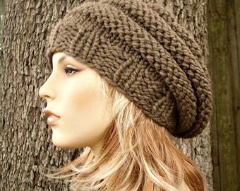 Knit Hat Womens Hat - Original Beehive Beret Hat Taupe Brown Knit Hat - Taupe Hat Taupe Beret Taupe Beanie Brown Hat Womens Accessories