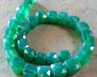 1/2 STRAND - Green Onyx Faceted Cube Beads with Shiny AB Mystic Coating - 6-7mm