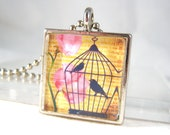Bird Cage Glass Pendant Necklace Collage Image Fashion Jewelry
