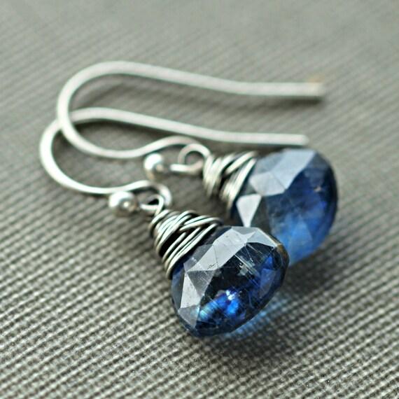 Blue Kyanite Earrings Electric Ultramarine Oxidized Sterling Silver Wire Wrapped - Electra