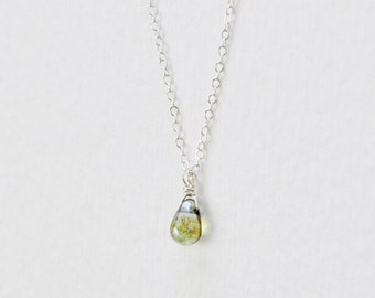 Tiny teardrop necklace - green drop necklace - moss bead necklace - sterling silver chain - delicate jewelry - Dewdrop moss