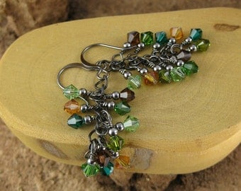 Forest green and brown multicolor gunmetal finish Swarovski Crystal cascade french hook earrings