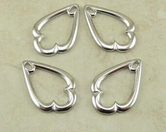 4 TierraCast 1 inch Trefoil Drop for Pendants or Earrings - Rhodium Plated Lead-Free Pewter - I ship internationally 2364