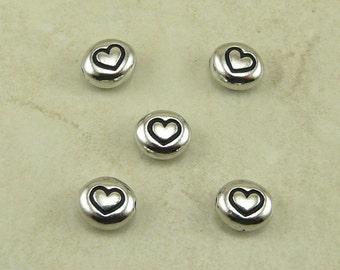 5 TierraCast Love Heart Symbol Beads > Valentines Day Love Bridal Wedding - Rhodium Plated Lead Free Pewter - I ship Internationally 5115