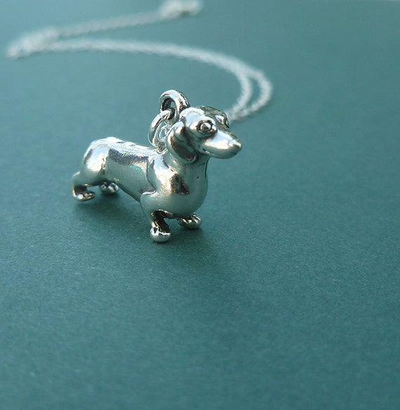 sterling silver dachshund necklace   doxie necklace   wiener dog necklace  gift for her   charm necklace