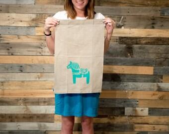 Tea Towel Swedish Dala Horse Flax Linen