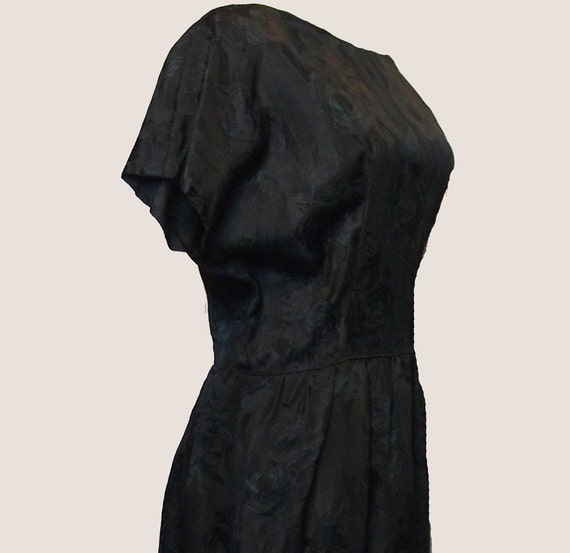 Vintage Dress, 1960's, Prom, Mad Men, Black Brocade, Hourglass Dress, Wiggle Dress, Medium/Large, FREE US SHIPPING