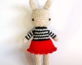 jessica .. girl rabbit doll, stuffed plush, plushie amigurumi bunny girl toy