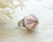 Sea Urchin Sterling Silver Ring - Rare ZigZag Purple Urchin - Beach Jewelry
