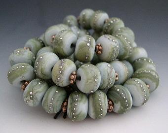 Naos Glass Silver Moss Mega Set 50 beads Handmade Lampwork Beads SRA Blue Gray Olive Black Fine Silver Dots