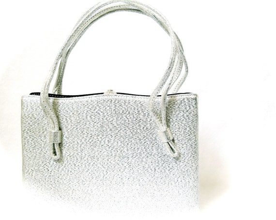 Silver Vintage Box Handbag with Frame