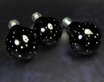 Cabinet Knobs Drawer Pulls Lampwork Glass Starry Night SRA