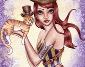 Steampunk ACEO Print - Fantasy Art - Steampunk Cat Top Hat Print - Riley - by Nikki Burnette