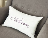 Monogrammed White Linen Pillow in 12x16 inch