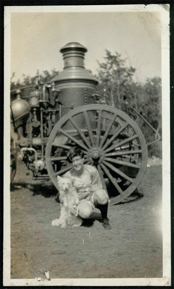 vintage photo Circus Girl w Dog