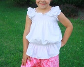Ruffle Pants pdf sewing pattern - Instant Download - 3 Styles - Gauchos Capris Bloomers - sizes 12m / 18m / 2 / 3 / 4 / 5 / 6 - SALE