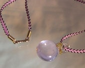 Pink Opalescent Pendant on Cord with Bronze Clasp
