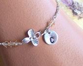 Personalized Bracelet, Wedding Jewelry, Custom Stone Jewelry, Initial Letter, Orchid Bracelet, Bridesmaids Jewelry- 3053