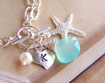 Bridesmaids Gifts -  Custom Monogram Bracelet - Customized Stone of Your Choice - Ocean Themed Jewelry - 3042