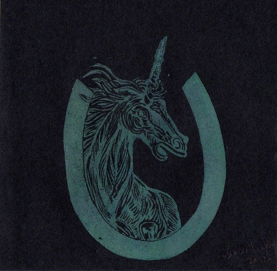 Unicorn U Monogram Linocut - Alphabet Typographical Lino Prints with Real and Mythical Animals - U is for Unicorn