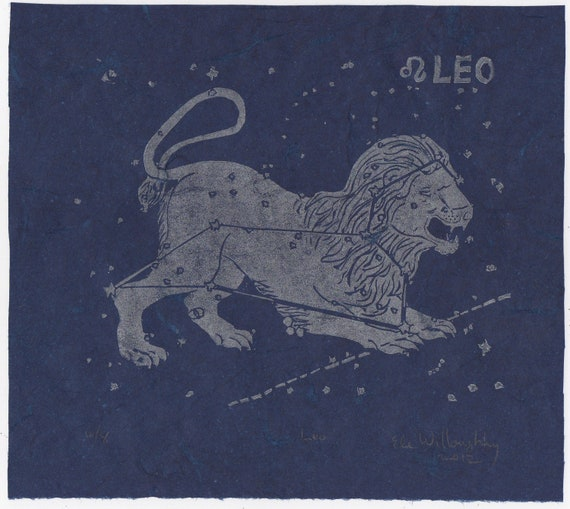65 Leo Zodiac Sign Tattoos Collection: Leo Constellation Linocut Constellations Of The Zodiac Print