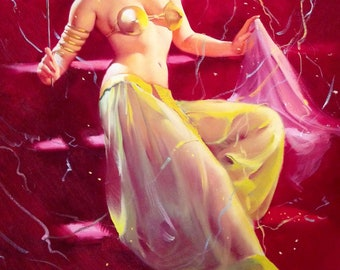 Elvgren Happy New Year SURPRISE  Pin-Up in sheer see through Genie, Burlesque Dance or Slave Girl Masquerade Costume Pin-Up