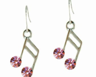 Swarovski Crystal Pink Semiquaver 16th Piano MUSIC NOTE Musical pierced Earrings Christmas Best Friend Gift New