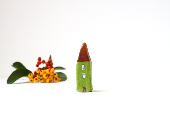Little Home No 210 -  Little autumn clay house - rust brown and green