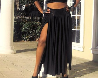 Plus Size Maxi Skirt - Black w/ Black Leather Waistband