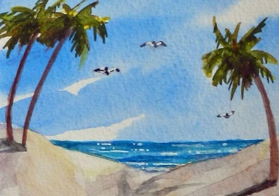 ACEO Beach Life, beach art, vacation paradise watercolor original painting