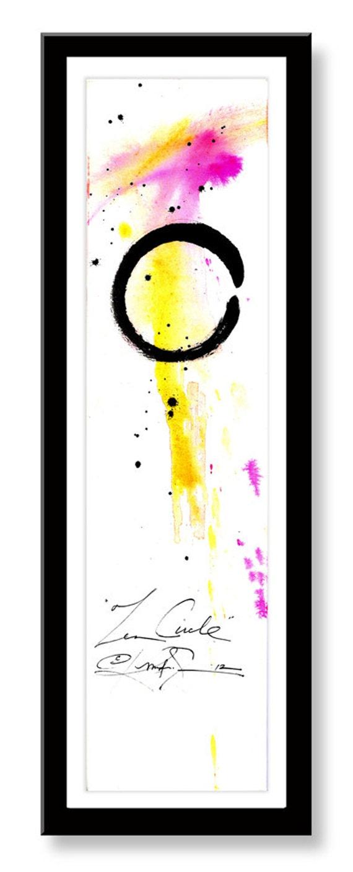 Original Enso Zen Painting Throw Pillows: Enso Zen Circle... No.30 ... Original By KathyMortonStanion