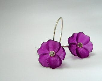 Lucite Flower Earrings Purple with Sterling Silver