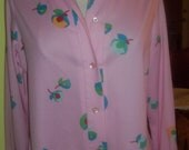 What a FUN and FUNKY 1970's Pink Flower Print Butterfly Collar Shirt