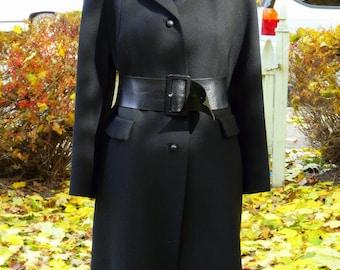 Vintage Brynwood 1950s 1960s black wool coat