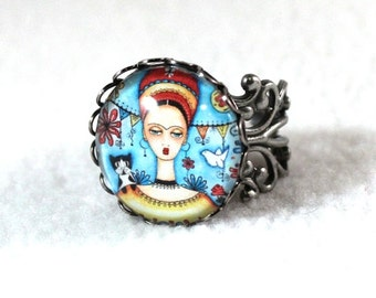 Frida Kahlo Ring, Mexican Girl Art, Antique Silver Filigree Cocktail Ring Jewelry, Original Art Print, Blue