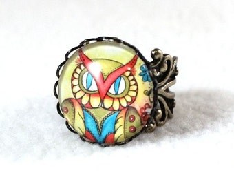 Owl Ring, Antique Bronze Mexican Style Art Ring, Filigree Cocktail Ring Jewelry, Original Owl Art Print, Yellow Blue Red