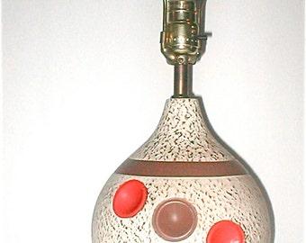 Atomic Age Dot Lamp - Vintage 50s Ceramic - Orange and Brown Modern Mid Century Lighting