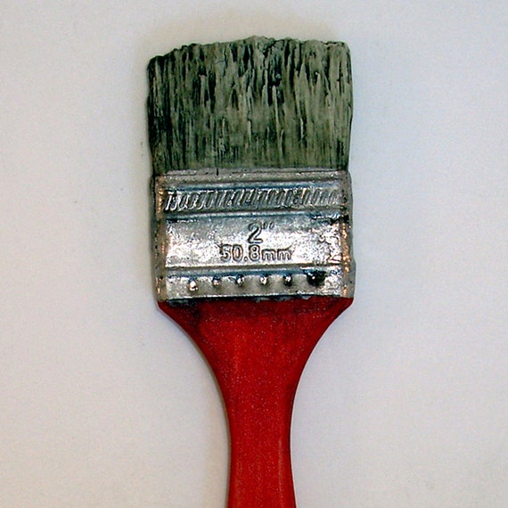 "large red handled porcelain ""paintbrush"" with white gold ferrule"